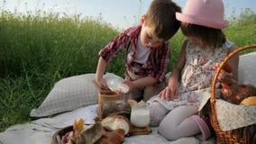 Τα παιδιά στο πικ-νίκ, οικογένεια στηρίζονται στη φύση, το πόσιμο γάλα παιδιών, το ευτυχές κορίτσι που τρώνε το αρτοποιείο, crois απόθεμα βίντεο
