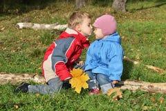 τα παιδιά φιλούν Στοκ εικόνα με δικαίωμα ελεύθερης χρήσης