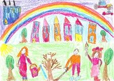 Τα παιδιά φύτεψαν ένα δέντρο Στοκ Φωτογραφίες