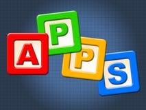 Τα παιδιά Apps εμποδίζουν παρουσιάζουν τα προγράμματα εφαρμογών και υπολογισμό Στοκ φωτογραφία με δικαίωμα ελεύθερης χρήσης