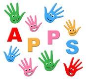 Τα παιδιά Apps σημαίνουν τα προγράμματα εφαρμογών και τον υπολογισμό Στοκ φωτογραφία με δικαίωμα ελεύθερης χρήσης