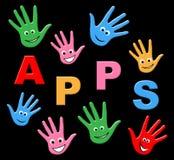 Τα παιδιά Apps σημαίνουν τα προγράμματα εφαρμογών και τους νεαρούς Στοκ φωτογραφία με δικαίωμα ελεύθερης χρήσης