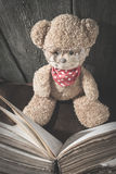 Τα παιδιά teddy αντέχουν με το βιβλίο Στοκ εικόνες με δικαίωμα ελεύθερης χρήσης