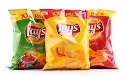 Τα πακέτα βάζουν τα τσιπ πατατών που απομονώνονται στο λευκό στοκ εικόνες