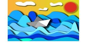 Τα πανιά βαρκών εγγράφου μέσω της ανήσυχης θάλασσας κατά τη διάρκεια της ημέρας διανυσματική απεικόνιση