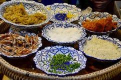 Τα παραδοσιακά ταϊλανδικά τρόφιμα αποκαλούμενα chae Khao είναι ρύζι που ενυδατώνεται σε δροσερό wa Στοκ φωτογραφία με δικαίωμα ελεύθερης χρήσης