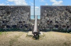 Τα παλαιά πυροβόλα όπλα σιδήρου που τοποθετούνται στον τεράστιο τοίχο Forte de Santa Catarina κάνουν Cabedelo στην πόλη Joao Pess Στοκ φωτογραφία με δικαίωμα ελεύθερης χρήσης
