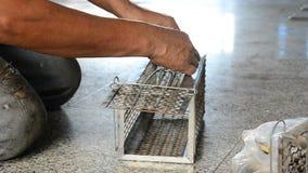 Τα παλαιά ψάρια σκουμπριών χρήσης ατόμων για τον αρουραίο παγιδεύουν το ταϊλανδικό ύφος απόθεμα βίντεο