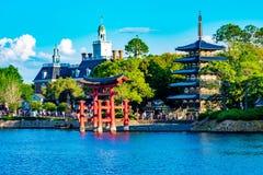 Τα περίπτερα περιπέτειας και της Ιαπωνίας της Αμερικής σε Epcot στον κόσμο Walt Disney στοκ φωτογραφία