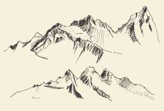 Τα περιγράμματα βουνών που χαράσσουν το διανυσματικό χέρι σύρουν Στοκ Εικόνες
