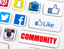 Τα περισσότερα δημοφιλή logotypes των κοινωνικών εφαρμογών δικτύωσης ελεύθερη απεικόνιση δικαιώματος