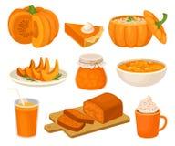 Τα πιάτα κολοκύθας καθορισμένα, πίτα, βάζο μαρμελάδας, fruitcake, κουάκερ, καρύκευμα κτύπησαν latte, διανυσματική απεικόνιση κατα απεικόνιση αποθεμάτων