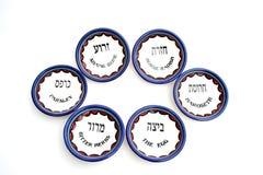 τα πιάτα passover θέτουν έξι Στοκ Φωτογραφίες