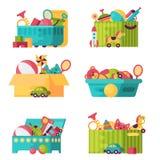 Τα πλήρη παιχνίδια παιδιών στα κιβώτια για τα παιδιά παίζουν τη διανυσματική απεικόνιση εμπορευματοκιβωτίων παιδικής ηλικίας baby διανυσματική απεικόνιση