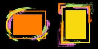 Τα πλαίσια με το χρώμα βουρτσίζουν το διανυσματικό σύνολο κτυπημάτων ελεύθερη απεικόνιση δικαιώματος