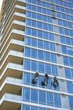 Τα πλυντήρια παραθύρων πολυόροφων κτιρίων καθαρίζουν τα παράθυρα ως ορειβάτες που κατεβαίνουν και που αναρριχούνται στα σταθερά σ στοκ εικόνα