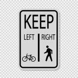 τα ποδήλατα συμβόλων κρατούν τους αριστερούς πεζούς κρατούν δεξιά το σημάδι στο διαφανές υπόβαθρο ελεύθερη απεικόνιση δικαιώματος