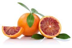 Τα πορτοκάλια φρούτων πορτοκαλιών αίματος τεμαχίζουν τις φέτες με τα φύλλα που απομονώνονται επάνω Στοκ Εικόνες