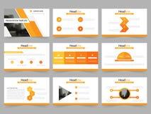 Τα πορτοκαλιά αφηρημένα πρότυπα παρουσίασης, επίπεδο σχέδιο προτύπων στοιχείων Infographic θέτουν για το φυλλάδιο ιπτάμενων φυλλά απεικόνιση αποθεμάτων