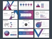 Τα πορφυρά μπλε πρότυπα παρουσίασης τριγώνων, επίπεδο σχέδιο προτύπων στοιχείων Infographic θέτουν για το ιπτάμενο φυλλάδιων ετήσ