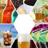 Τα ποτά κολάζ συλλογής επιλογών ποτών πίνουν το τετραγωνικό εστιατόριο στοκ εικόνες