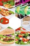 Τα ποτά κολάζ συλλογής τροφίμων και ποτών πίνουν τα γεύματα γεύματος σχετικά με Στοκ Φωτογραφία