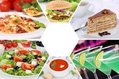 Τα ποτά κολάζ συλλογής τροφίμων και ποτών πίνουν τα γεύματα γεύματος σχετικά με Στοκ Εικόνες