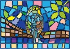 Τα πουλιά στους κλάδους Μωυσής λεκίασαν το γυαλί διανυσματική απεικόνιση