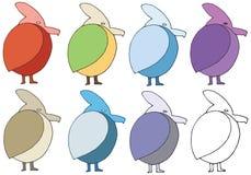 Τα πουλιά χρώματος κινούμενων σχεδίων τυπωμένων υλών doodle καθορισμένα το χέρι σύρουν το τέρας λογότυπων ελεύθερη απεικόνιση δικαιώματος