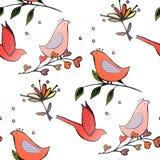 Τα πουλιά ανθίζουν seamles το σχέδιο στοκ φωτογραφία