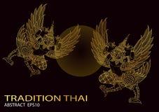Τα πουλιά βασιλιάδων περιγράφουν το ταϊλανδικό διάνυσμα σχεδίου παράδοσης ταϊλανδικό απεικόνιση αποθεμάτων
