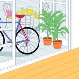 Τα ποδήλατα και ο πίνακας χαλαρώνουν στο πεζούλι Στοκ εικόνες με δικαίωμα ελεύθερης χρήσης