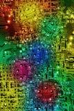 Τα πολυ χρώματα αφαιρούν το ηλεκτρονικό υπόβαθρο κυκλωμάτων Στοκ Φωτογραφία