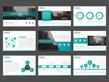 Τα πράσινα αφηρημένα πρότυπα παρουσίασης, επίπεδο σχέδιο προτύπων στοιχείων Infographic θέτουν για το φυλλάδιο ιπτάμενων φυλλάδιω διανυσματική απεικόνιση