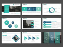 Τα πράσινα αφηρημένα πρότυπα παρουσίασης, επίπεδο σχέδιο προτύπων στοιχείων Infographic θέτουν για το φυλλάδιο ιπτάμενων φυλλάδιω ελεύθερη απεικόνιση δικαιώματος