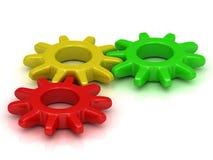 Τα πράσινα, κίτρινα και κόκκινα εργαλεία στο ένα ενώνουν Στοκ Εικόνα
