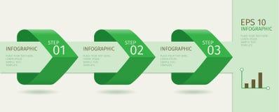 Τα πράσινα infographic βέλη με επιταχύνουν τις επιλογές Διανυσματικό πρότυπο στο επίπεδο ύφος σχεδίου Στοκ Φωτογραφίες
