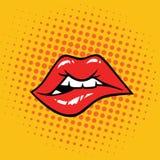 Τα προκλητικά χείλια δαγκώματος σκάουν την τέχνη Στοκ Φωτογραφία