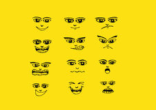 Τα πρόσωπα κινούμενων σχεδίων καθορισμένα την απεικόνιση σχεδίων χεριών Στοκ φωτογραφία με δικαίωμα ελεύθερης χρήσης