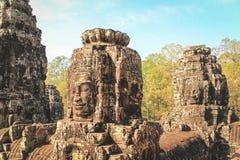 Τα πρόσωπα του ναού Bayon σε Siem συγκεντρώνουν κοντά σε Angkor Wat σε Cambod Στοκ φωτογραφίες με δικαίωμα ελεύθερης χρήσης