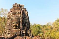 Τα πρόσωπα του ναού Bayon σε Siem συγκεντρώνουν κοντά σε Angkor Wat σε Cambod Στοκ φωτογραφία με δικαίωμα ελεύθερης χρήσης