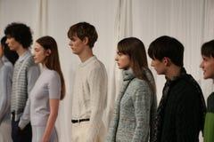 Τα πρότυπα θέτουν στο διάδρομο στη επίδειξη μόδας Orley κατά τη διάρκεια της πτώσης του 2015 MBFW Στοκ εικόνες με δικαίωμα ελεύθερης χρήσης