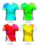 Τα πρότυπα μπλουζών αφαιρούν τη γεωμετρική συλλογή του διαφορετικού polygonal μωσαϊκού χρωμάτων ελεύθερη απεικόνιση δικαιώματος
