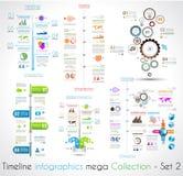 Τα πρότυπα σχεδίου Infographic υπόδειξης ως προς το χρόνο θέτουν 2 Στοκ Εικόνες