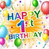 Τα πρώτα γενέθλια δείχνουν ότι ο 1$ος γιορτάζει και ευτυχία απεικόνιση αποθεμάτων