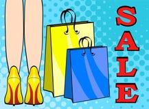 Τα πόδια γυναικών στο κίτρινο ύψος βάζουν τακούνια στα παπούτσια, τις συσκευασίες τσαντών, και τη λέξη S απεικόνιση αποθεμάτων