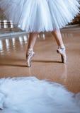 Τα πόδια κινηματογραφήσεων σε πρώτο πλάνο του νέου ballerina στα παπούτσια pointe Στοκ φωτογραφίες με δικαίωμα ελεύθερης χρήσης