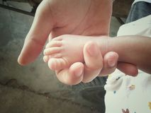 τα πόδια μωρών στη μητέρα δίνουν κοντά επάνω με τη μαλακή εστίαση και τον εκλεκτής ποιότητας τόνο Στοκ εικόνες με δικαίωμα ελεύθερης χρήσης