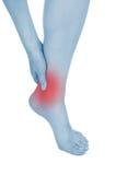 Τα πόδια που βλάπτονται, παρουσιασμένος κόκκινο, κρατούν στοκ εικόνα