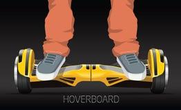 Τα πόδια στο selfbalance ροδών ηλεκτρικό αιωρούνται τον πίνακα Στοκ εικόνες με δικαίωμα ελεύθερης χρήσης